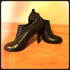 Black BCBGirls leather bootie heels